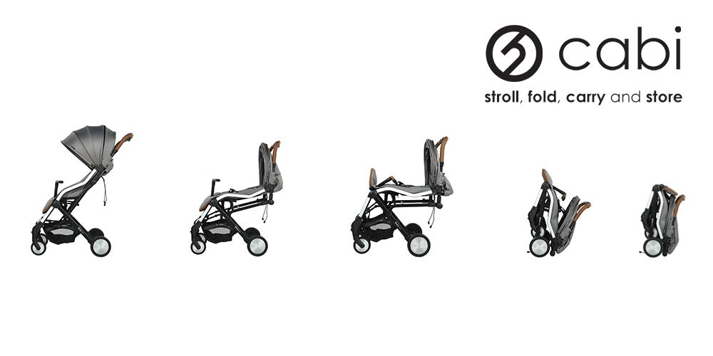 Hybrid CABI Stroller, Stone Oyster Lie-flat recline and ventilation window Cabin fold design Adjustable canopy and footrest 5