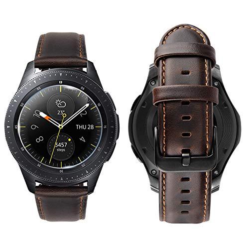 iBazal 20mm Armband Leder Uhrenarmband Armbänder Lederarmband Ersatz für Samsung Galaxy Watch 42mm/Active 40mm/Huawei 2/Gear S2 Classic/Sport/Ticwatch 2/E/Vivoactive 3/Vivomove HR(Ohne Uhren) - Kaffee (20 Mm Fossil Leder Uhr Band)