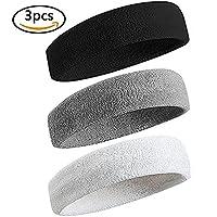 3 Pièces Bandeau de Sport pour Hommes et Femmes,Elastique Antidérapant Bandeau Cheveux Sueur Absorbant pour Sports