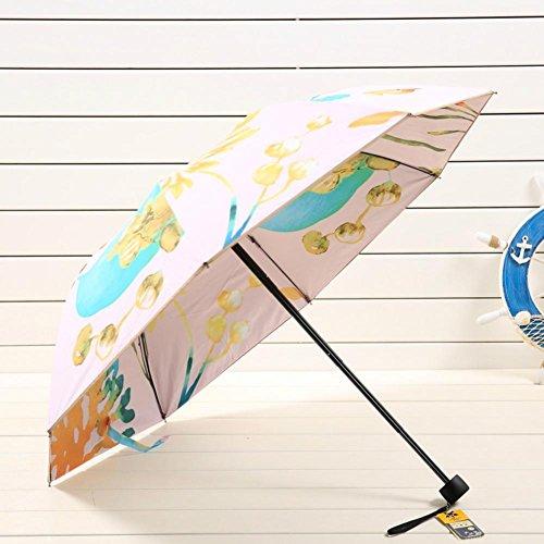 JAYLONG Travel Umbrella 8 costillas de doble capa de pintura robusta construcción portátil de acero inoxidable de secado rápido paraguas plegable impermeable para mujeres, hombres, niños y niños, A
