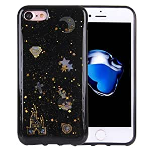 Crazy4Gadget For iPhone 7 Flash Powder Twinkling NightSky Moon Pattern Soft TPU Protective Case