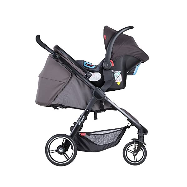 Phil&teds Smart Buggy Pushchair, Graphite phil&teds Foot fold - intuitive, compact, one-piece standing foot fold - a world's first of its kind - is only 23 Inch wide, making it perfect for tight city spaces ; A unique aerocore seat design that's soft and spongy for maximum comfort and is hypo-allergenic, ventilating, insulating, UV resistant, waterproof, non-toxic and simply wipes clean Smooth ride tires - super-smooth, hassle-free riding with 10 Inch rear puncture-proof, aerotech wheels and suspension on all four wheels; convenient hand-operated parking brake offers easy braking control at your fingertips Lightweight - stroller weighs 23.5 lbs. and includes a main, full-size seat that holds up to 44 lbs., an extendable leg and a sun hood with zip-out extension and silent peek-a-boo flap 3