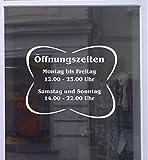 Öffnungszeiten Fiore Schaufensterbeschriftung Aufkleber Werbung Laden Geschäft Weiß Breite 40 cm