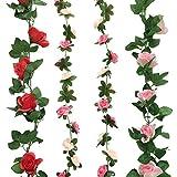 Cocodeko Lot de 4 artificielle Rose soie fleur avec feuille verte Vine Plastique à...