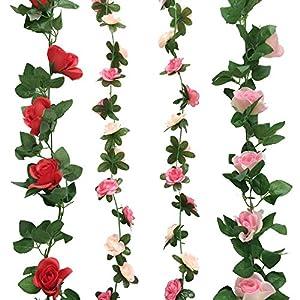 Cocodeko 4 Pack Artificiales falsos rosa flores de seda con verde hojas de vid plástico para colgar Vine guirnalda…