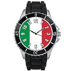 Idea Regalo - Timest - Bandiera Italia - Orologio da polso unisex con cinturino in silicone nero analogico al quarzo SE0439