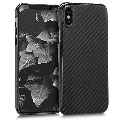 kalibri-Hlle-fr-Apple-iPhone-X-Handy-Schutzhlle-Backcover-Aramid-Cover-Hochglanz-Schwarz