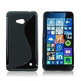 handy-point Gummihülle Schale Gummi Silikon Silikonhülle Schutzhülle Schutzschale Gummischale für Microsoft Lumia 640, Schwarz
