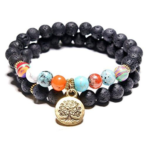 YOIL Exquisite und Kompakte Schmuck Dekoration Perlen Armband Lava Stein Armband Gedruckt Armband