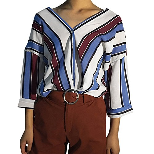 Baumwolle V-neck Wrap (HARRYSTORE Frauen Casual Striped Langarm V-Ausschnitt Top Fashion Damen Streifen Knopf Tops T-Shirt Top Loose Sleeve Bluse Lightweight Curved Hem T Shirt V Neck Side Slit Block Tee)