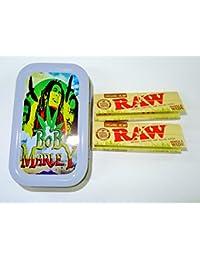 1oz Bob Marley (Gris), diseño de tabaco/Bolsillo/Stash lata + 2orgánico RAW Single Wide folletos Combo se vende por Trendz