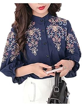 Blusas de un solo pecho bordado Retro de las mujeres Blue L