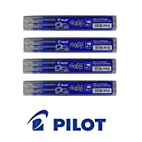 PILOT Lot de 4 Sets de 3 Recharges friXion Ball (BLS-FR7) Bleu