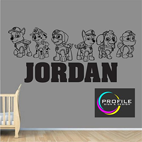 PERSONALISED CUSTOM NAME KIDS PAW PATROL WALL ART STICKER SIZE APPROX 1000 X 465 mm MADE BY PROFILE SIGN by PROFILESIGNS.CO (Zuschneiden High Profile)