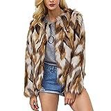 Pelzjacke Damen Herbst Winter Dicke Warm Felljacke Fashion Jungen Weiches Bequem Casual Cardigan Langarm Synthetisch Pelz Jacket Mantel (Color : Kahki, Size : M)