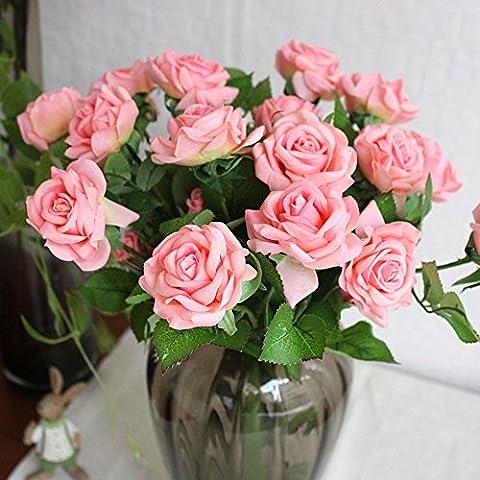 10 Stück Real Touch Silk Kleben PU Silk Künstliche Rose Blumen Home Dekorationen für Hochzeitsfeier oder Geburtstag Garten Brautstrauß Blumensträuße Happy Valentinstag Geschenke Party Veranstaltung (Pink)
