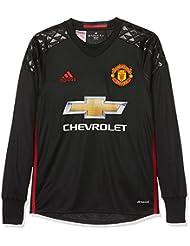 adidas H Gk Jsy Y Camiseta 1ª Equipación Portero Manchester United 2015/16, Niños, Negro / Rojo, 15-16 años