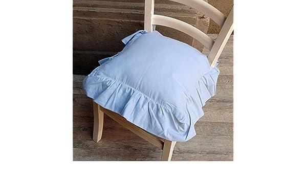 blanc mariclo' fodera cuscino per sedia con gala celeste