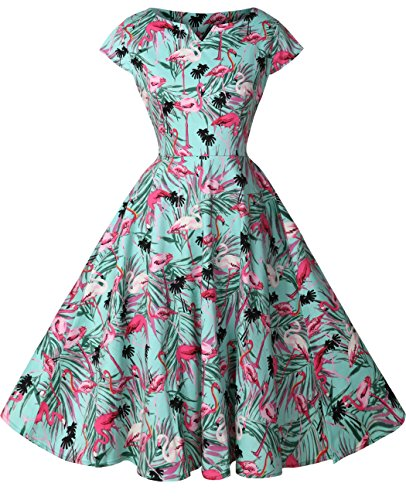 FAIRY COUPLE 1950S Retro Rockabilly Tupfen Kappen Hülsen Abschlussball Kleid DRT019(S,Grün Flamingo)