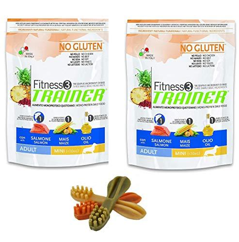 2 x 800 g Trainer Fitness Adult Mini Salmon Mais No Gluten Piu Omaggio 3 Stück Whimzees Zahnbürste Snack für Hunde