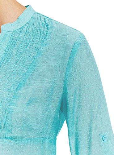 oodji Collection Femme Tunique Col en V Turquoise (7300N)
