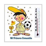 Detalles, Recuerdos y Regalos de Comunión Para Invitados - Imanes con termómetro para Primera Comunión Niño Fútbol - Bonitos y Originales. Pack 20 unidades. ¡Sus amiguitos alucinarán!
