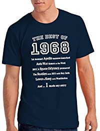 "Mens ""The Best of 1968"" 50th Birthday T Shirt Gift, 100% Soft Cotton"