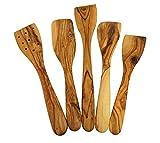 Olivenholz Pfannenwender Küchenhelfer Set 5 Teile Oliven Holz Pfannen Wender Heber 25-35 cm