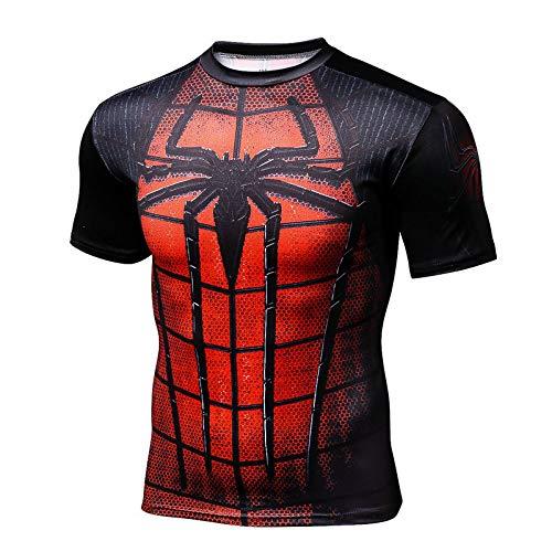 Kostüm Mann Spider Schwarzer Muskel - HUIHONG Mens Compression Superhero Top Basisschicht Gym Halbarm Laufen Thermal Sweatshirt Workout T-Shirt Spider Superman,Red-XL