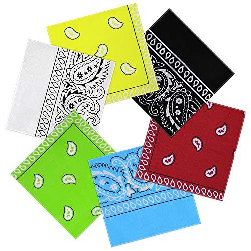 Nasharia Bandana Kopftuch 100% Baumwolle, 6-12 Pack Paisley Bandana Halstuch 55 x 55 cm Kopftuch Armtuch Mischfarben Haar, Hals, Kopf Schal Nickituch Vierecktuch -