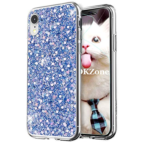 OKZone iPhone XR Phone Case, Luxury Bling Glitter Sparkle Design Slim Fit Soft Gel TPU Silicone Skin Cover Anti-scratch Protective Shining Fashion Style Case for Apple iPhone XR 6.1 Inch (Blue)
