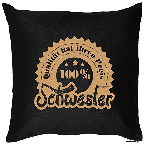 Tolles Kuschelkissen mit Aufdruck für die Coole Schwester - Lustiges Kissen - Dekokissen - 100 Prozent Schwester /Goodman Design