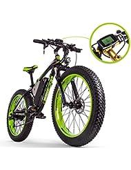 RICH BIT RT-012 E-Bike Vélo électrique 26''* 4.0 gras Pneu Neige Bike Vélo électrique Ebike 1000 W Haute Puissance Moteur 48 V * 17 Ah Batterie au lithium de grande capacité High Life 21 vitesses Shimano Frein à disque Compteur de vitesse Vert