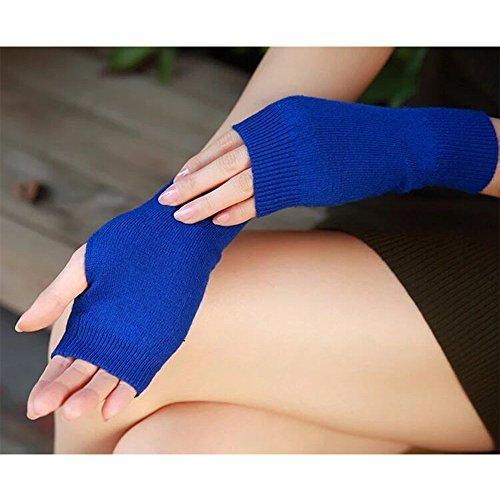 Unisex Strick aus Wolle Half Finger Handschuhe Fäustling Herren Damen Winter Handschuhe Hand Arm Wärmer weiblich Handschuhe 2017Hot Sale - blau (Finger Wärmer)
