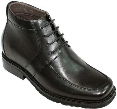 CALTO G9905-3.2 inches Taller - Size 11.5 D US - Height Increasing Elevator Shoes (Black Leather Lace-up Square-Toe Boots)