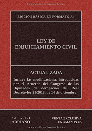 Ley de Enjuiciamiento Civil (Edición básica en formato A4): Actualizada, incluyendo la última reforma recogida en la descripción por Editorial ADRIANO