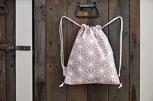 KraftKids Turnbeutel weiße Diamante auf Cameo Rosa, Sportbeutel mit Kordelzug für Mädchen und Jungen, Kordelbeutel für Kleinkinder aus 100% Baumwolle -