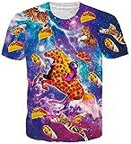 Loveternal Unisex Galaxis T-Shirt Einhorn T-Shirt 3D Druck Kurzarm Tops Pizza Katze Tee für Frauen Männer L