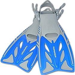 AQUAZON Palmes pour Enfants Barracuda, Palmes de plongée réglables, idéales pour la plongée au Tuba, la plongée ou comme Palmes de Natation, Palmes de plongée au Tuba, Size:32/37, Colour:Blue