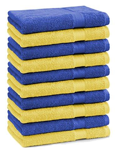Betz Lot de 10 serviettes débarbouillettes lavettes taille 30x30 cm en 100% coton Premium couleur jaune et bleu foncé