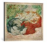 Gerahmtes Bild von Franz Marc Katzen auf rotem Tuch, Kunstdruck im hochwertigen handgefertigten Bilder-Rahmen, 70x50 cm, Silber raya