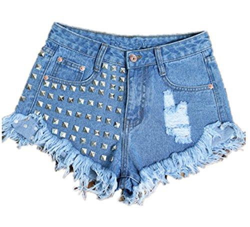 CleverSue Damen Sommer Boyfriend Weinlese Niet Hohe Taille Zerrissenes Loch Denim Shorts Hotpants Unregelmäßig Kurz Jeans Hosen