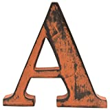 Shabby Chic Vintage Large 11 cm Wooden Letters Hand Finished Alphabets Free-Standing Or Wall Mounted Décor for Weddings Baby Names Signs Unique Personalised Gift. (Orange, Letter A)