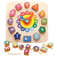 Anglewolf Wooden Shape Sorting Clock / With 12 Numbers And Shapes Blocks Puzzle Beading Match Child Early Educational Toy Gifts (Multicolor)