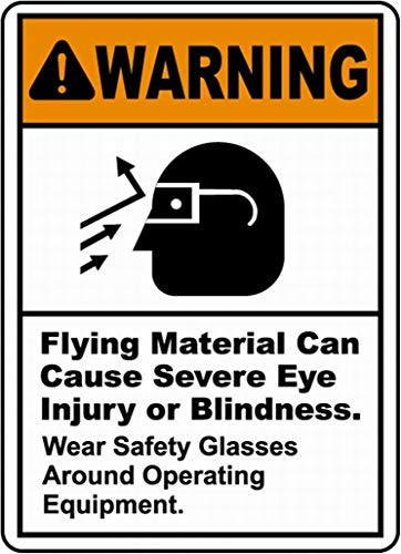 mefoll Flying Material Can Cause Eye Injury Sign Warning Sign Safety Sign Danger Tin Sign 12x16 by -