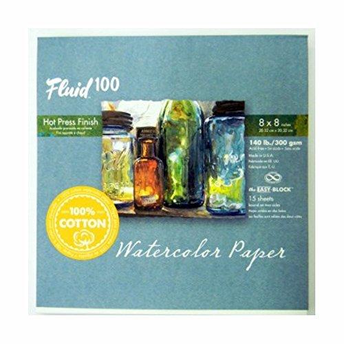 Fluid 100 Aquarell Hp 140lb Ez-Block-8X8 (140 Lb-aquarell-block)