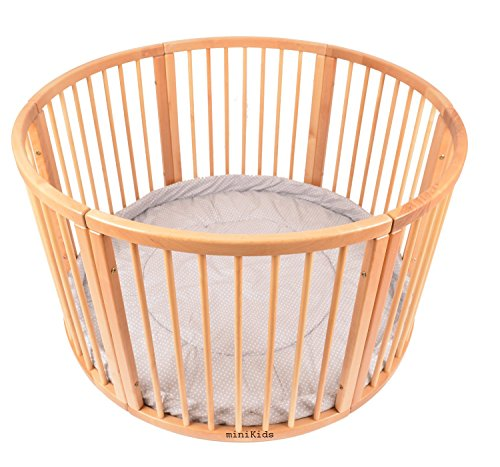ALANEL VERY LARGE WOODEN BABY PLAYPEN (Ø 120cm) WITH PLAYMAT (DOTS GREY)