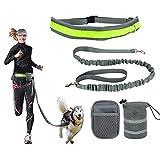 Joggingleine KYG  Hundeleine Joggen mit reflektierendem Bauchgurt  für Hunde elastisch 145- 180 CM Leine für Laufen Joggen Wandern und Radfahren