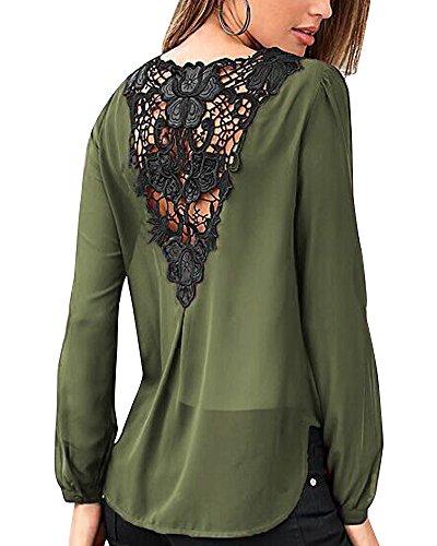 Mujer De Encaje De Ganchillo Espalda Descubierta Escote V Casual Elástico Gasa Manga Larga Camisas Suelto Blusas Verano Verde 2XL