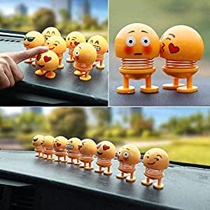 SHOPPERWORLD Pack of 6 Emoji/Smiley Spring Doll,Cute Emoji for Car Dashboard Bounce Toys,Emoticon Figure Funny Smiley Face Springs Car Decoration for Car Interior Dashboard Expression BobbleHead